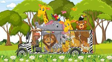 scena dello zoo con animali felici nell'auto della gabbia vettore