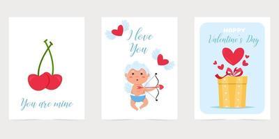 cartolina di San Valentino con cuore rosso. ti amo banner. poster o biglietto di auguri di San Valentino vacanza romantica. vettore