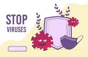 fermare l & # 39; illustrazione di vettore del concetto di virus. scudo e protezione della maschera
