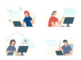 le persone che studiano a distanza studiano durante la quarantena un gruppo di giovani che studiano in linea con il computer. apprendimento degli studenti di tecnologia Internet. vettore