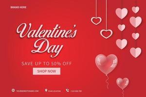 poster o banner di vendita di San Valentino con molti cuori dolci sul concetto di sfondo rosso. promozione e progettazione del modello di acquisto vettore