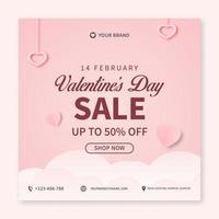 concetto creativo di banner di vendita di san valentino per modello di post sui social media. progettazione di promozione banner web vettore