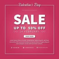 modello di progettazione di promozione banner o volantino di vendita di san valentino. progettazione di banner pubblicitari web vettore