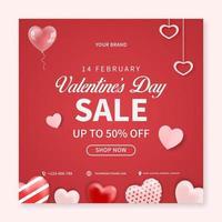 concetto creativo dell'insegna di vendita di San Valentino. modello di post sui social media. progettazione di promozione banner web vettore