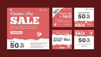 set di promozione banner di vendita di san valentino, marketing di sconto per la raccolta di modelli di post sui social media. progettazione di banner pubblicitari web vettore