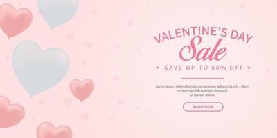 promozione banner vendita dolce san valentino in colori pastello con disegno vettoriale simbolo cuore palloncino