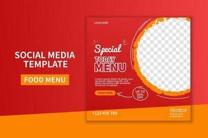 creativo menu di cibo premium ristorante social media post template design. promozione banner web. vettore di promozione pubblicitaria online