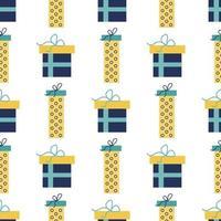 Vector seamless pattern di scatole regalo colorate, Capodanno, sfondo vacanza