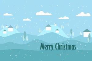 illustrazione vettoriale piatta di una carta di paesaggio invernale di Natale. blu e bianco, montagne con piccole case e alberi, giornata di neve