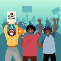 attivismo manifestanti per l'uguaglianza dei diritti umani vettore