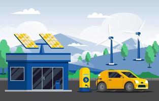 stazione di ricarica eco green vettore