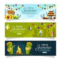 set di banner celebrazione festa junina vettore