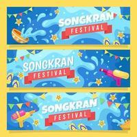 felice raccolta di banner del festival di songkran vettore