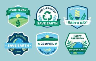 collezione di badge per la consapevolezza della giornata della terra vettore