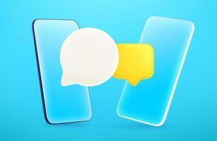 smartphone moderno con palloncini di chat. Illustrazione vettoriale modificabile in stile fumetto 3D