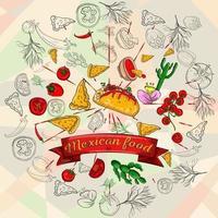 illustrazione di prodotti da cucina messicani in un ornamento circolare vettore
