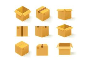 scatola di consegna di cartone marrone in diverse varianti isolate su bianco vettore