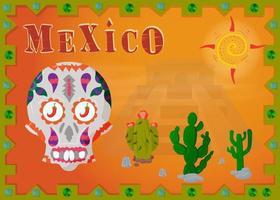 paesaggio del deserto messicano nella cornice con teschio vettore