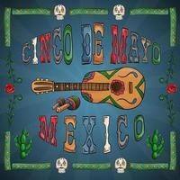 illustrazione del tema messicano della celebrazione del cinco de mayo vettore