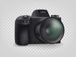 fotocamera digitale mirrorless moderna nera isolata vettore
