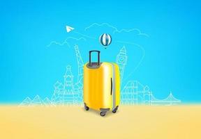 valigia gialla fotorealistica con diversi luoghi famosi di viaggio vettore