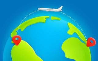 rotta di volo dell'aereo di linea da continente a continente con traccia di trattini. torna in america. vettore