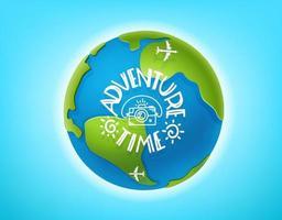 concetto di vettore di tempo di avventura. la terra e il lettering