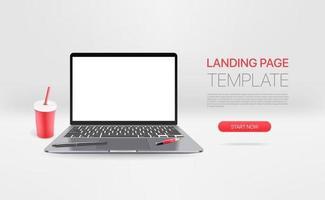 laptop moderno con bevanda. modello di pagina di destinazione promozionale vettore