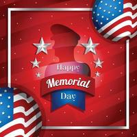 felice giorno della memoria con bandiera e soldato vettore