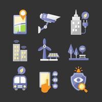 collezione di icone di smart city vettore
