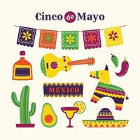 collezione di icone di cinco de mayo in stile piatto vettore