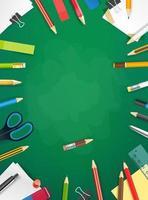 lavagna della scuola con oggetti diversi. illustrazione vettoriale verticale