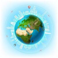 viaggiare intorno al concetto di vettore del mondo