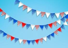 ghirlande di bandiere colorate. celebrazione della festa nazionale americana vettore