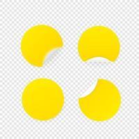 carta bianca di colore, raccolta di vettore di adesivi circolari isolata