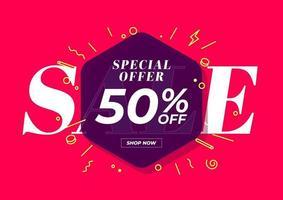 vendita offerta speciale 50 per cento di sconto banner. sfondo rosso offerta speciale e modello di promozione design. vettore