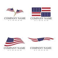 modello di progettazione dell'illustrazione dell'icona di vettore della bandiera americana