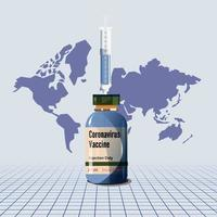 vaccino covid-19 con mappa del mondo vettore
