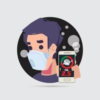 uomo che mostra l'applicazione mobile con rilevatore di polvere pm2.5 vettore