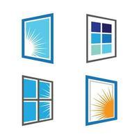 insieme dell'illustrazione di immagini di logo della finestra vettore
