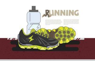 scarpe da ginnastica in esecuzione con bottiglia d'acqua sulla pista da corsa. banner o sito Web della pagina di destinazione vettore
