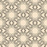 trama vettoriale senza soluzione di continuità di elementi di colore e forma rotonda astratta di colore scuro su uno sfondo beige in stile lineare.