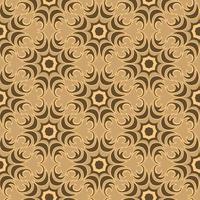 trama vettoriale senza soluzione di continuità di elementi floreali e astratti di colore di palude di forma rotonda su sfondo marrone.