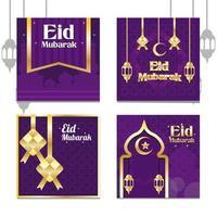 ornamento d'oro eid per i social media vettore