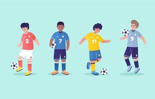 set di caratteri del giocatore di football dei cartoni animati vettore