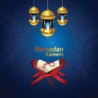 lanterna dorata araba con quaran del libro sacro islamico vettore