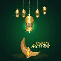 ramadan mubarak o eid mubarak con lanterna araba dorata vettore