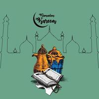 illustrazione di tiraggio della mano per lo sfondo di ramadan mubarak vettore
