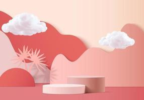 vettore di sfondo 3D rendering rosa con podio e scena nuvola minima, sfondo di visualizzazione prodotto minimo 3d reso forma geometrica cielo nuvola rosa pastello. fase 3D render prodotto in piattaforma
