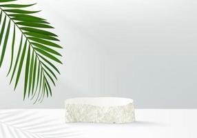 I prodotti di sfondo 3d visualizzano la scena del podio con una piattaforma geometrica sotne. sfondo rendering 3d vettoriale con podio. stand per mostrare prodotti cosmetici. palco vetrina su piedistallo display bianco studio